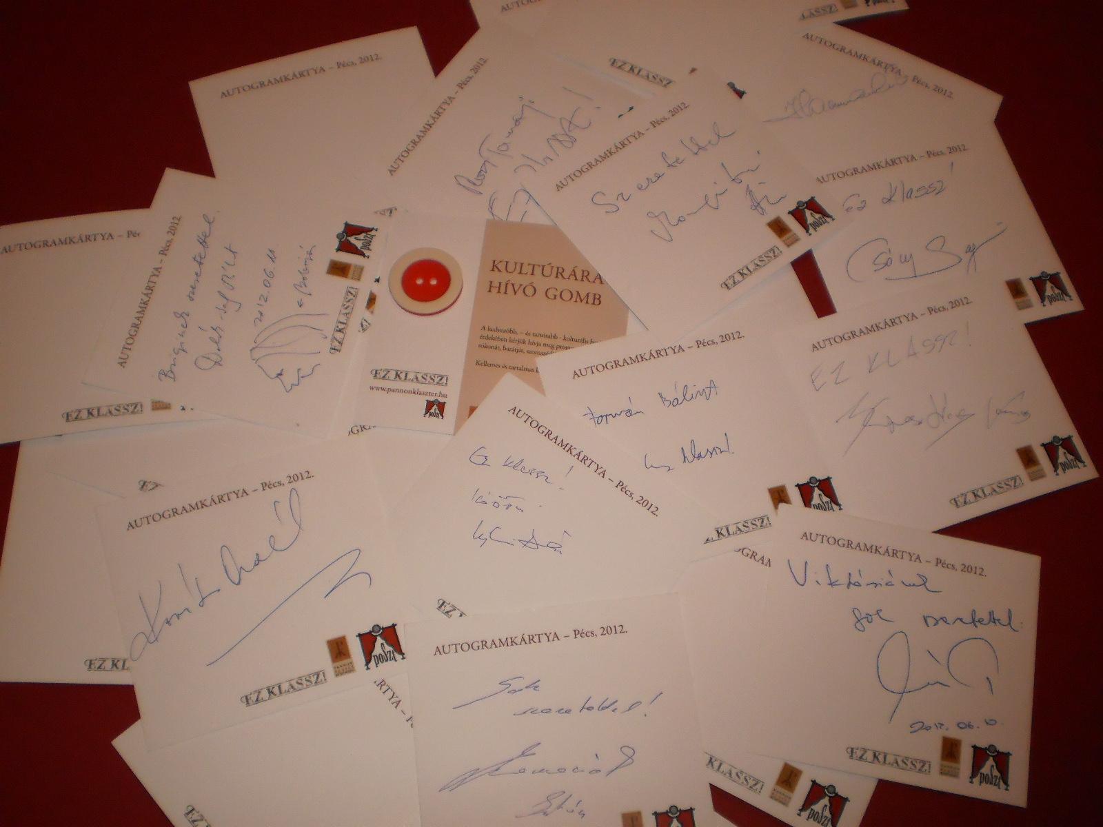 Autogram kártyák a Pannon Klassz Közösség kezdeményezéseként