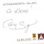 Csányi Sándor autogram kártyája
