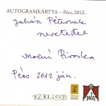 Molnár Piroska autogram kártya